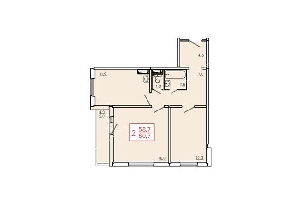 Планировки Жилой комплекс КУРЧАТОВА, дом 6, стр 2 - Планировка двухкомнатной квартиры 60,7 кв.м. Этажи 10-16