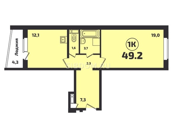 Планировка 1-комн 49,2 м²
