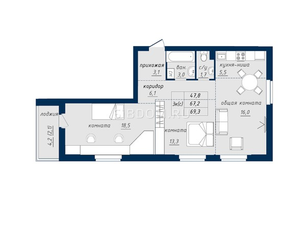 Планировка 3-комн 69 - 69,5 м²