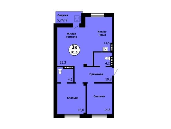 Планировка 3-комн 91,1 - 91,5 м²