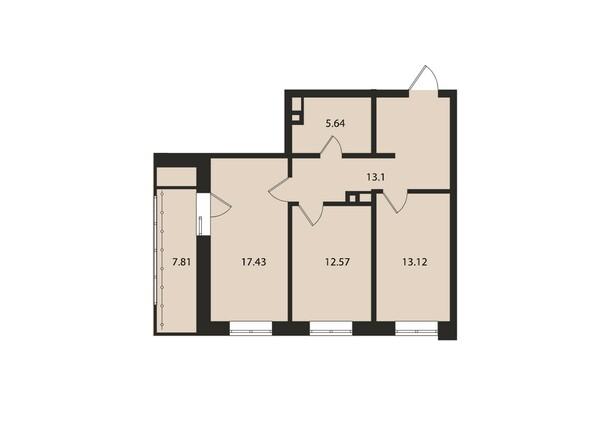 Планировки Жилой комплекс ВДОХНОВЕНИЕ - Планировка двухкомнатной квартиры 69,7 кв.м