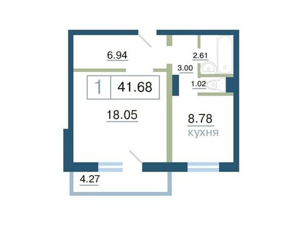 Планировка 1-комн 41,68, 42 м²