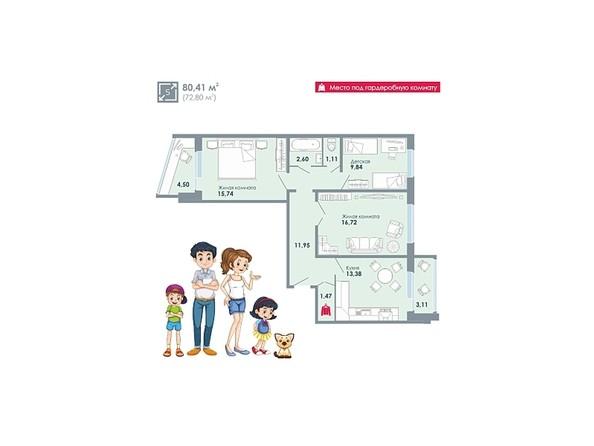 Планировки Жилой комплекс ЧИСТАЯ СЛОБОДА, дом 32 - Планировка трехкомнатной квартиры 80,41 кв.м