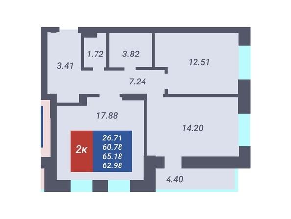 Планировка 2-комн 60,78, 61 м²