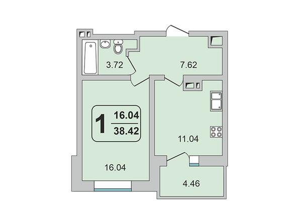 Планировки ГРАНД-ПАРК, б/с 2-1 - 1-комнатная 38,42 кв.м
