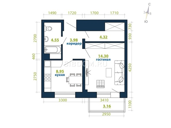 Планировка 1-комн 39,26 м²