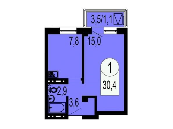 Планировка 1-комнатной квартиры 30,4 кв.м