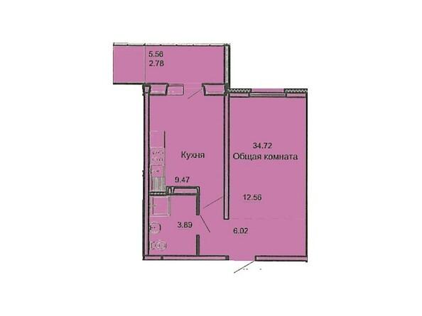 Планировка 1-комн 34,72 м²