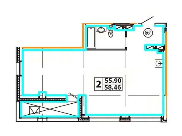 Планировка 2-комнатной квартиры 58,46 кв. м