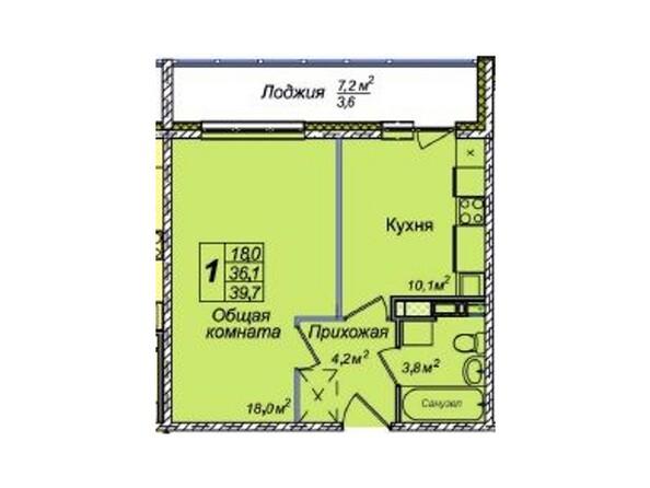 Планировки Жилой комплекс ВЕНЕЦИЯ-2, дом 8 - 1-комнатная 39,7 кв.м