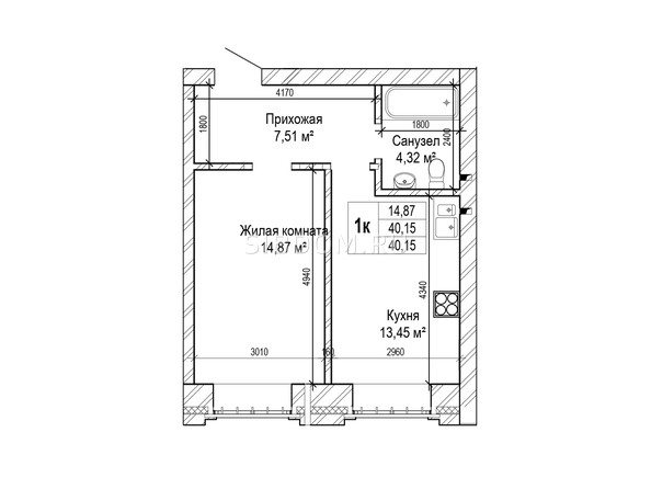 Планировки Жилой комплекс ГРИНАРТ, дом 5 - Планировка однокомнатной квартиры 40,1 кв.м.