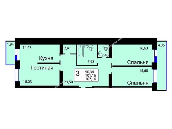 Планировки Жилой комплекс РЯБИНОВЫЙ САД, 3 оч, 2 этап - Б/С - 12. Планировка трехкомнатной квартиры 107,16 кв.м. Этажи 10-16.