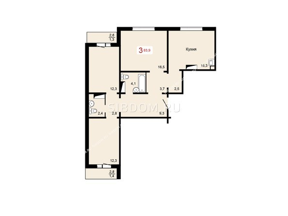 Планировки Жилой комплекс КУРЧАТОВА, дом 6, стр 1 - 2 блок-секция. Планировка трехкомнатной квартиры 83,9 кв.м