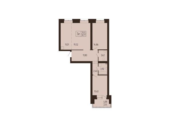Планировки Жилой комплекс СВОИ ЛЮДИ  - Планировка трехкомнатной квартиры 80,77 кв.м