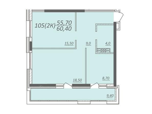Планировка 2-комнатной квартиры 60,4 кв.м
