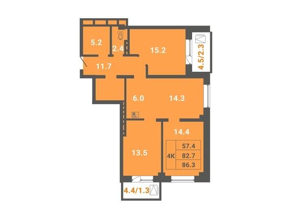 4-комнатная 86,3 кв.м