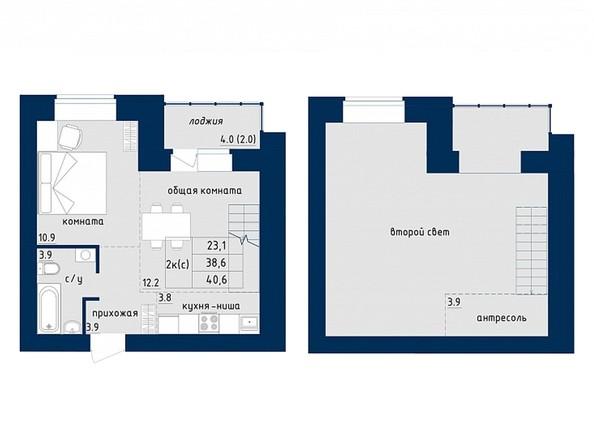 2-комнатная 40.6 кв.м