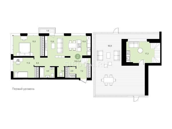 Планировка 2-комн 155,58, 155,6 м²