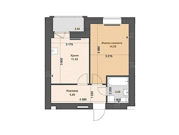 1-комнатная 37.22 - 37.97 кв.м