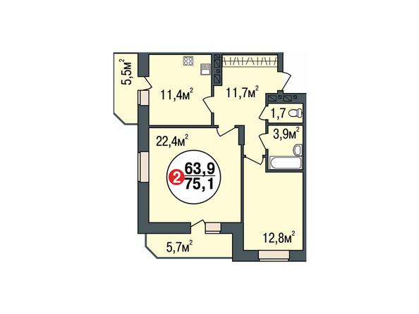 Планировки Жилой комплекс ПОКРОВСКИЙ, б/с 3, 4, 5 - Планировка двухкомнатной квартиры 75,1 кв.м
