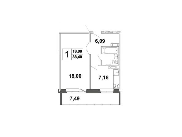 Планировки Жилой комплекс ЗЕЛЁНЫЕ ГОРКИ, КПД-21 - Планировка однокомнатной квартиры 38,4 кв.м
