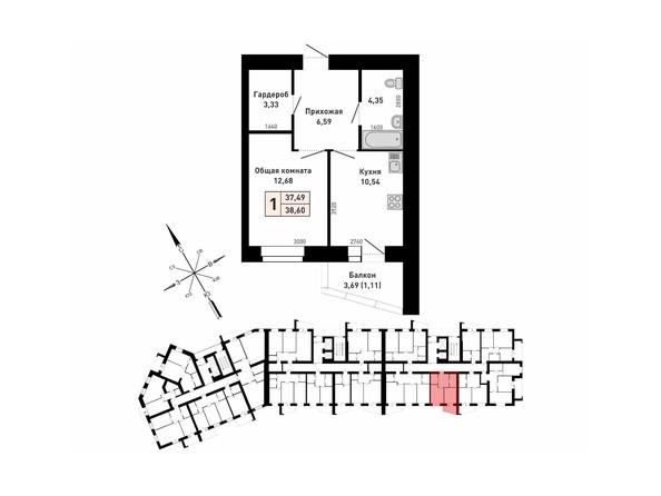 Планировка 1-комн 37,49 - 39,35 м²
