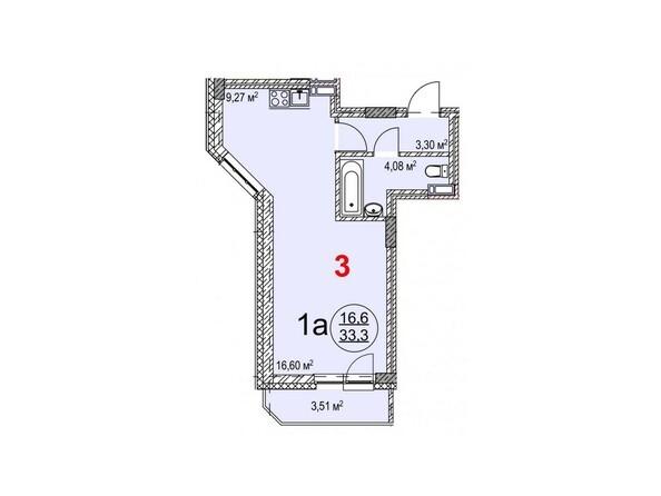 Планировки Жилой комплекс ТИХИЙ БЕРЕГ, дом 2 - Планировка однокомнатной квартиры 33,3 кв.м