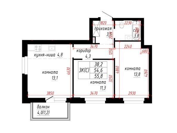 3-комнатная 54.6; 55.8 кв.м