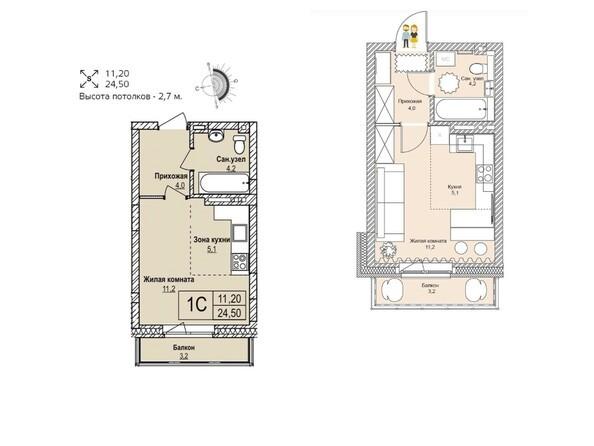 Планировки Жилой комплекс ЭВОЛЮЦИЯ, 1 оч, дом 2 - Планировка однокомнатной квартиры 24,5 кв.м