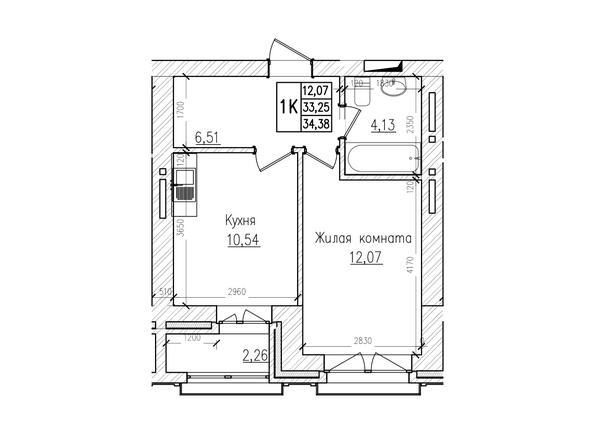 Планировки Жилой комплекс КРАСНЫЙ ПРОСПЕКТ, дом 4 - 1-комнатная 33,12 кв.м