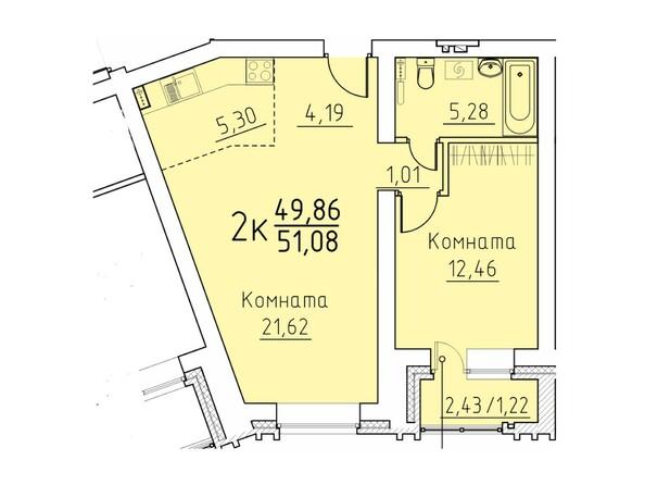 Планировка 2-комн 51,08 м²