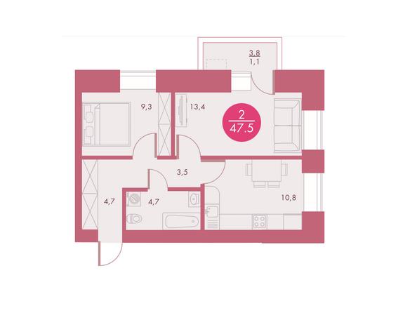 Планировки Жилой комплекс Арбан SMART (Смарт) на Шахтеров, д 1 - Планировка двухкомнатной квартиры 47,5 кв.м