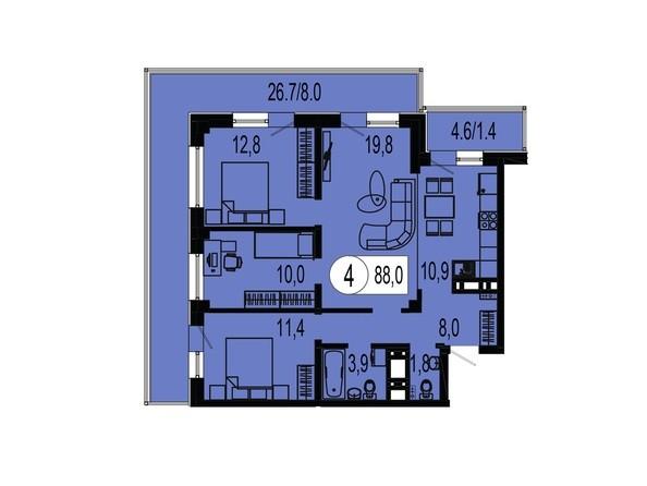 Планировка четырехкомнатной квартиры 88,0 кв.м
