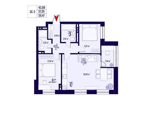 Планировка 3-комн 57,55, 59,47 м²