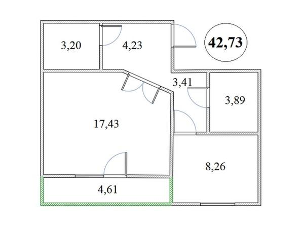 Планировка 1-комнатной квартиры 42,73 кв.м