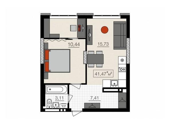 Планировки НОВЫЙ КВАРТАЛ, корпус 1 - 2-комнатная 41,47 кв.м.