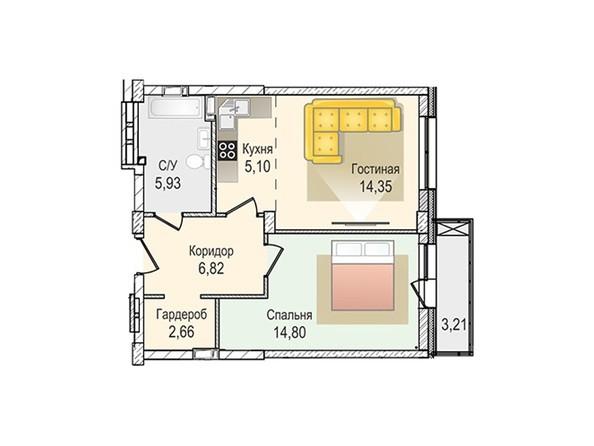 Планировки Жилой комплекс КрымSky, дом 8 - 2-комнатная 49,66 кв.м