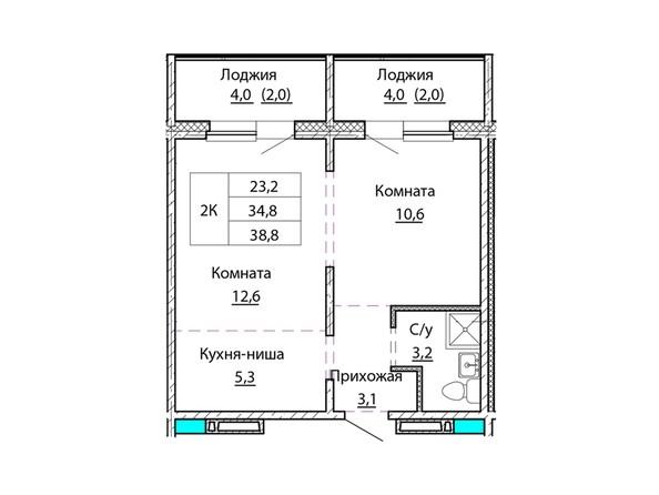 Планировки Жилой комплекс КОСМОНАВТЫ, Б/С 2 - Планировка двухкомнатной квартиры 38,8 кв.м