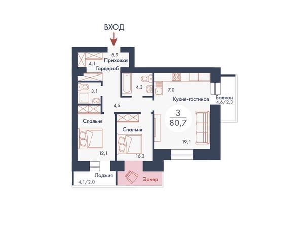 Планировка трехкомнатной квартиры 80,7 кв.м