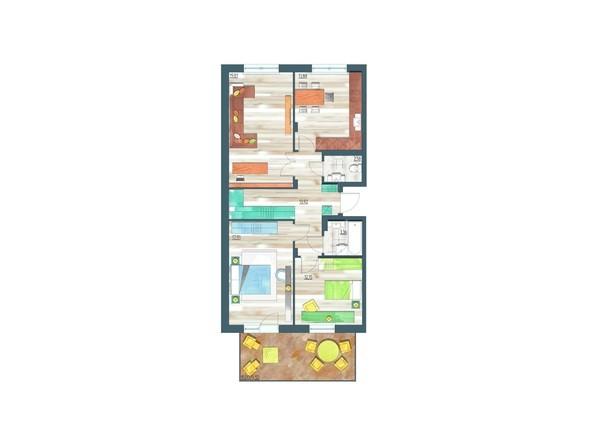 Планировки Жилой комплекс ЖИВЁМ эко-район, 10 квартал, дом 1 - Планировка трехкомнатной квартиры 88,11 кв.м