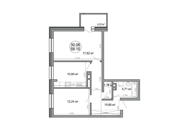 Планировка 2-комн 62,39 м²