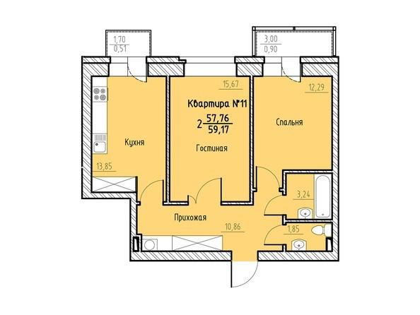 Планировка 2-комн 59,17 м²