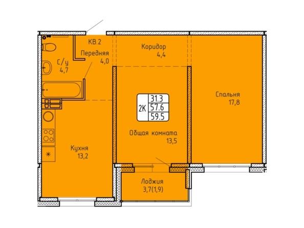 Планировка 2-комн 59,2, 59,5 м²
