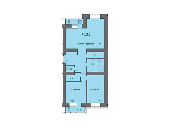 Планировки Жилой комплекс SKY SEVEN, б/с 7, 2 оч - Планировка трехкомнатной квартиры 121,2 кв.м