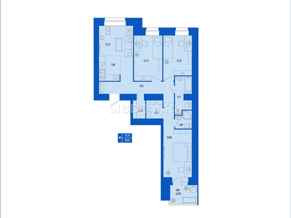 4-комнатная 78.38; 80.82 кв.м