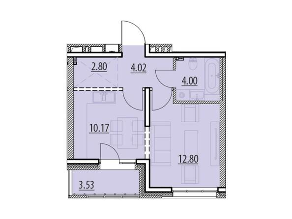 Планировка 1-комн 37,32, 38,54 м²