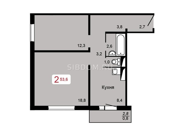 Планировка 2-комн 53,6 м²