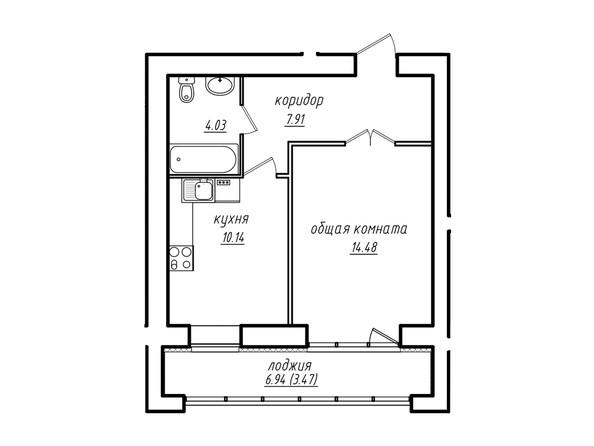 1-комнатная 40.03 кв.м