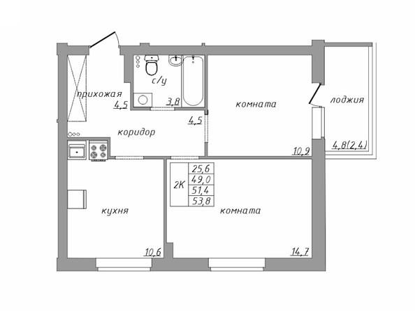 Планировка 2-комн 51,4, 53,8 м²