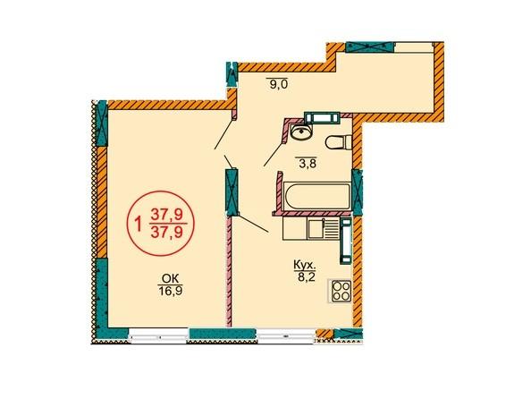 1-комнатная 37.9 кв.м